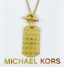 NEW Michael Kors Gold Monogram Dog Tag Necklace MKJ4286