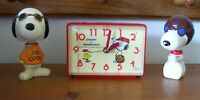 1965 Vintage Peanuts Snoopy & Woodstock Clock + 2 Bobble Head Nodders Joe Cool