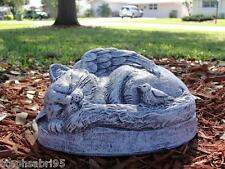 CAT MONUMENT/ MEMORIAL KITTY  CONCRETE STATUE GARDEN VINTAGE  NEW PAINTED STONE