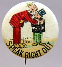 1910 Bud Fisher Mutt & Jeff SPEAK RIGHT OUT Hassan Cigarette pinback button *