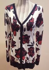 Mac & Jac Womens Floral Button Down Long Sleeve Cotton Cardigan Sweater Size L