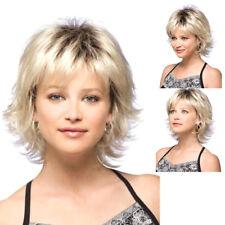 Sexy Femme Perruque Courte Blonde Bouclé Ondulé Synthétique Cheveux Complet Mode