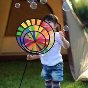Colorful Rainbow Triple Wheel Wind Spinner Windmill Garden Yard Decor
