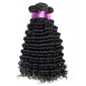 Peruvian Deep Wave Bundles Deal 100% Virgin Human Hair Extensions Natural Color