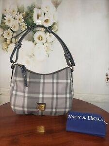 Dooney & Bourke Graham Coated Cotton Small Kiley Hobo Handbag - Gray Plaid