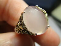 STERLING SILVER ESTATE BH EFFY ROSE QUARTZ 18K GOLD BUTTERFLY ROPE RING SIZE 7