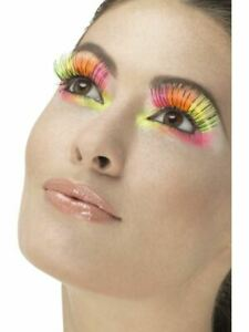 80'S Neon Party Long Eyelashes Eye Lashes Adult Womens Fancy Dress Accessory