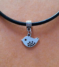 Black Leather Choker Necklace with Silver Dove Charm - New - UK Seller