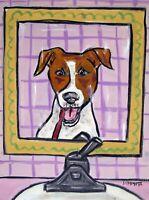 JAck russell Bathroom print dog poster art gift 8x10 dentist  brushing teeth