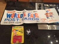 RARE WORLD'S FAIR KIOSK POSTER & SOUVENIRS 1963-1965