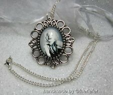 Marilyn Monroe fan retro style cameo necklace gift black white glass cabochon