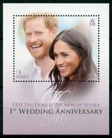 Jersey 2019 MNH Prince Harry Meghan 1st Wedding Anniv 1v M/S Royalty Stamps