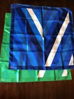 VTG Pair Vera Neumann Scarf 1970s Japan Ladybug Mod Stripe Blue Green Midcentury