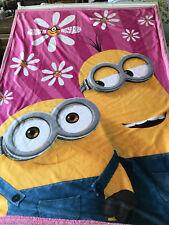 Minions Fleece Throw Blanket Despicable Me Girls Pink Bedding Decor Gift Rare