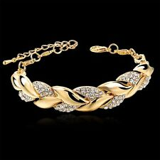 Classy 18kt Gold Plated Braided Leaf Austrian Crystal Link Chain Bracelet