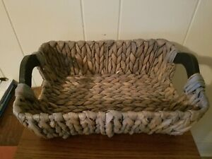 Basket With Wood Handles Handcrafted in Vietnam Gray w/Tag