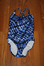 NWT Womens SPEEDO Blue Tie Dye Print One Piece Swim Suit Light Padded Size 6