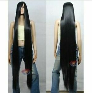 Black 80CM 100CM 150CM 200CM Long Straight Anime Cosplay Party Wig Hair