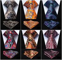 Black Blue Paisley Mens Silk Ties Necktie Handkerchief  Gold Tie Set  Wedding H1