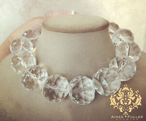CZECH GLASS Chunky Statement Necklace Black Tie Jewelry Quartz Clear Facet Beads