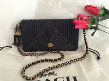NWT. Coach Quilted Woven Rivet Dinky Black Leather Cross-body Bag 22789