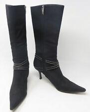 "Sergio Rossi Black Canvas Leather Buckle Zipper 14"" High Heel Boot US 9.5 Black"