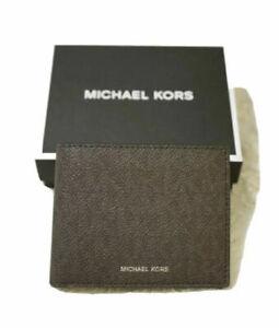 NEW Michael Kors Brown Leather Jet Set Men's Slim Billfold Wallet With MK Logo