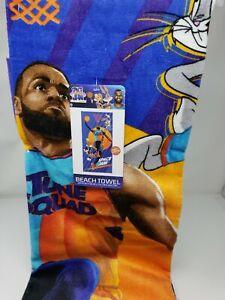 "NEW Space Jam Beach Towel 28"" x 58"" LeBron James Free Shipping Basketball"