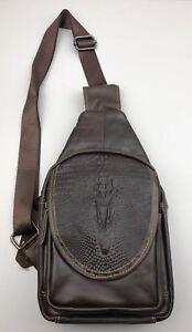 Crocodile skin pattern 100% Real Leather Travel Shoulder Sling Pack chest bag AU