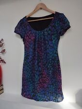 Ladies Lovely George Blue Mix Animal Print Thigh Length Party Dress Size 10, Vgc