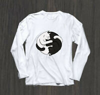 Ying Yang Cats white Long Sleeve T-Shirt size S-3XL al