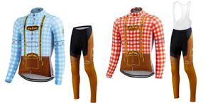 Retro Long Sleeve Cycling Jersey Set Bib Pants Ropa Ciclismo Bicycle Wear MTB