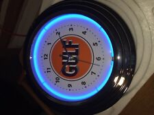 "GULF GAS OIL NEON 12 1/2"" Gas Station Lighted Advertising Clock NIB"