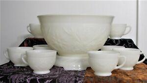 Vintage Anchor Hocking Ivory Milk Glass 10 Piece Punch Bowl Set