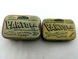 Lot of 2 Partola ideal peppermint candy laxative tins 1 thick 1 thin Sample & 18