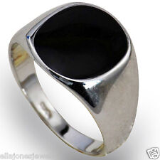 Silver Plated Black Onyx Mens Ring Signet Wedding Band Pinky (Sizes K to Z+2)