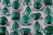 Wholesale Jewelry Lots 2pcs Dark Green  Malachite Gemstone Silver P Metal Rings