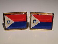 Sint Maarten Flag Cufflinks--Antilles Island Caribbean Dutch Netherlands