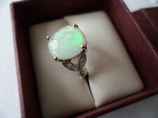 Vintage Jewellery Sterling Silver Ring Opal White Sapphires Antique Jewelry