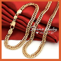 18K GOLD GF CUBAN CURB RING LINK MENS WOMENS SOLID BRACELET NECKLACE CHAIN GIFT