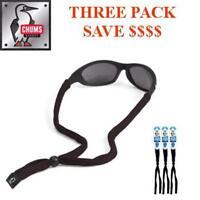 Chums Original Cotton Eyewear Retainer Sunglass Strap Original End,Black, 3 PACK