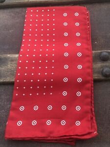 Unisex Ferrell Reed 100% Silk Soft Red Pocket Square 16.5 X 16.5 Hand rolled S-5