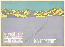 Vintage Ski Poster ZUGER-BERG WINTERSPORT, 1915 by Walter Koch, A3 Travel Print