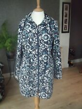 BLUE & WHITE & TEAL PRETTY FLORAL COTTON PARKA COAT  SZ 14 IMMACULATE CONDITION