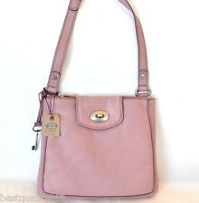NEW FOSSIL MARLOW PINK LEATHER+SILVER TONE CROSSBODY,HAND+SHOULDER BAG,PURSE