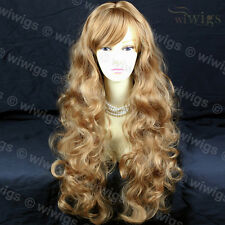 Layered Beautiful Skin Top Strawberry Blonde Wavy Ladies Wig From WIWIGS UK