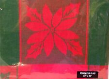 "~NEW~ POINSETTIA PLAID Tablecloth 60""x84"" Living Quarters Lifestyles 100% Cotton"