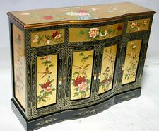"""oriental furniture gold leaves lacquer 60"""" Chinese credenza cabinet,"""