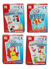 Pack 4 Classic Chldrens Card Games Kids Travel Fun Old Maid Animal Snap Go Fish
