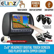 "Headrest 2 X 9"" HD Touch Screen Car Monitor Pillow 2 DVD Player GAME HEADPHONES"